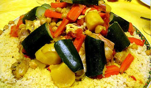 cous cous di polo e verdure
